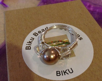 Freshwater Pearl and Crystal Trinity Ring Wire Wrapped SIZE 6.5