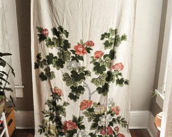 Vintage Fabric Yardage 3 yards COHAMA Hand Printed Barkcloth Fabric Chippendale Print Drape Piece
