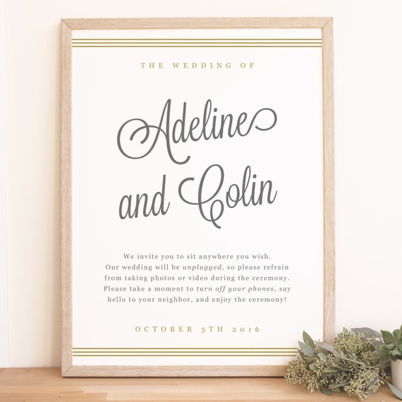 Free Wedding Sign Templates: Printable Custom Wedding Welcome Sign Template Gold Script