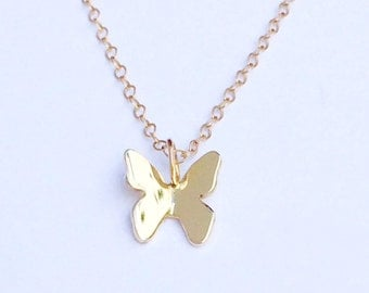 14K Gold Butterfly Charm Necklace