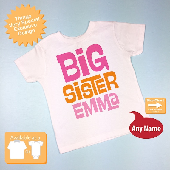 Big Sister Shirt Personalized Infant, Toddler or Youth Tee Shirt Pink and Orange Text t-shirt or Onesie (06142012b)