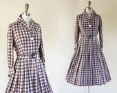Vintage 50s Dress - 1950s Dress - Pink Black Plaid Wool Full Skirt Shirtwaist Dress w French Cuffs M - By the Fire Dress