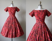 50s Dress - Vintage 1950s Dress - Red Gebera Daisy Caged Shoulder Cotton Sundress S - Grace Note Dress