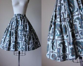50s Skirt - Vintage 1950s Skirt -Teal Blue Olive Green Navy Batik Deadstock Cotton Full Skirt XS - Paisley Perks Skirt