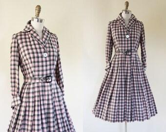 Vintage 50s Dress - 1950s Dress - Pink Black Plaid Wool Full Skirt Shirtwaist Dress w French Cuffs M - By the Fire Dress