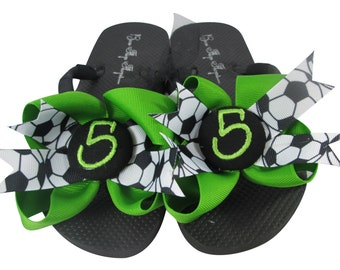 Soccer Bow Flip Flops -custom made with team colors & initial or number -black and green