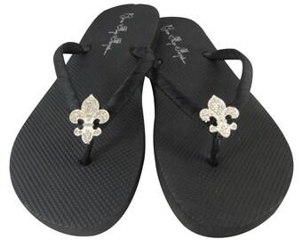 Fleur de Lis Flip Flops , Rhinestone Bling on Black FlatSandals or Choose colors, Bridesmaid Flip Flops , Bridal Shoes