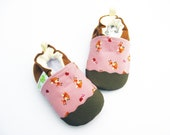 Classic Vegan Tiny Deer in Pink / Non-Slip Soft Sole Shoes / Made to Order / Babies Toddlers Preschool