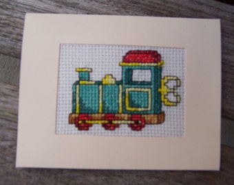 Train Completed Hand Stitched cross stitch card, greetings card, Birthday Card , Handmade card
