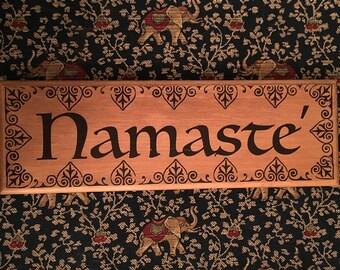 Namaste' wood sign
