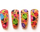 25 pcs  Orange ladybird Hair Clip cover for toddler  - size 35 mm