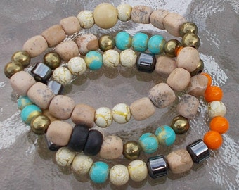 MENS or Womens LAYERED STRETCH Bracelets 3 Piece Set