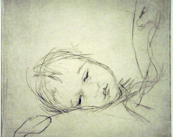 "Original art print ""Asleep"". Drypoint. 15x15 cm."