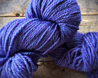 Peace Fleece worsted blue purple knitting yarn - 200 yards - Mir Atlantis Periwinkle - wool knitting yarn
