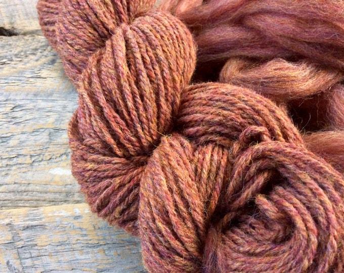 Handspun yarn - Aran,  rust spice wool