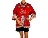 Vintage 1960s Chinese Red Silk Hand Embroidered Jacket - S / M
