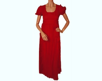 Vintage 1960s Red Polka Dot Maxi Dress with Matching Apron - Empire Waist - S