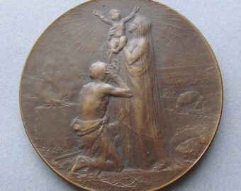 Antique French Holy Family Religious Art Medal O Crux Ave Spes Unica Signed Dupre Bronze   SS89