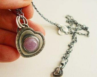 Pink kunzite pendant - Silver heart with gemstone - pink heart pendant - romantic heart pendant - artisan crafted