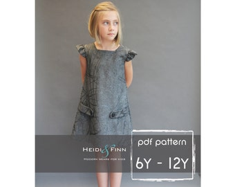 NEW  Dorset dress PDF sewing pattern and tutorial 6y-12y  tunic dress jumper  easy sew