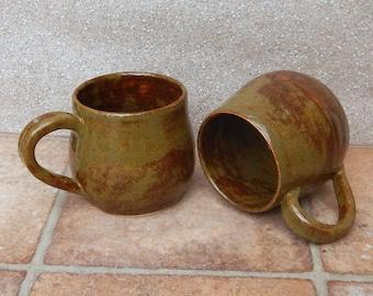 Cuddle mug coffee tea cup hand thrown stoneware pottery ceramic