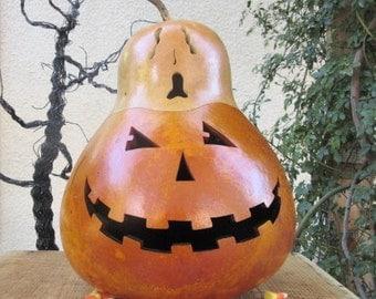 Halloween Gourd Large Jack O Lantern Ghost Top Primitive Pumpkin Decoration