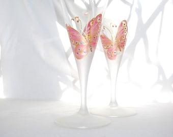 Butterfly Wedding Toasting Glasses Hand Painted Custom Wedding Glassware, Italian Crystal