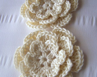 Crochet flower 3 inch cotton chocolate vanilla crochet motif embellishment