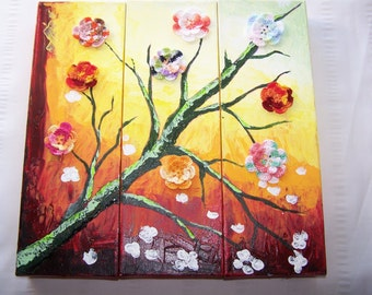 Painting canvas background with crochet flowers home decor wall decor triptych art gallery canvas