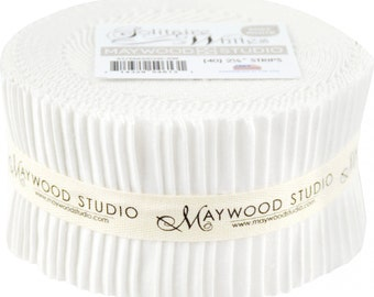 "White Fabric Pre-cut Fabric Strips Jelly Roll Sushi Roll Maywood Studio Solitaire Whites - 40 strips 2.5"" wide - 100% Cotton"