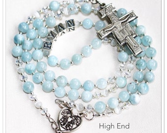 First Communion rosary, First Communion Gift, Rosary with Name, gemstone rosary, beaded, sterling silver, engraved, personalized