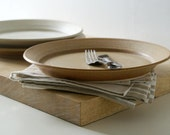 SECONDS SALE - A set of three dinner plates glazed in vanilla cream and natural brown