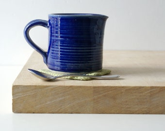 Cafe style pouring jug for milk - hand thrown in stoneware and glazed in ocean blue