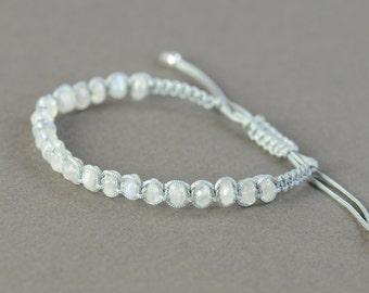 Moonstone macrame woven bracelet