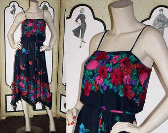 1970's Floral Sun Dress with Handkerchief Hem in Navy, Green, Pink and Purple. Small.