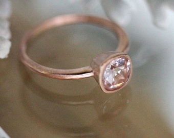 Genuine Morganite 14K Rose Gold Ring, Gemstone RIng, Cushion Shape Ring, Eco Friendly, Engagement Ring, Stacking Ring - Made To Order