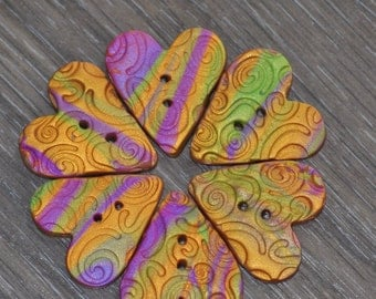 1 inch Gold, Purple, and Green Swirled Heart Shaped Buttons - Set of 6 - Mardi Gras colors