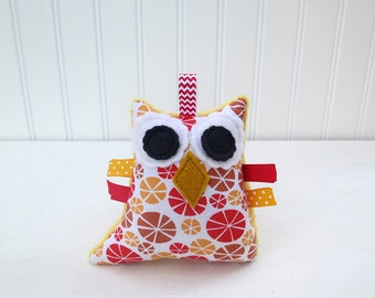 Owl Rattle Plush Owl Softie Mango Orange Red Ready to Ship