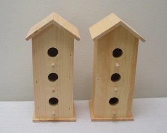 Pair of 3 Hole Unfinished Wood Birdhouses