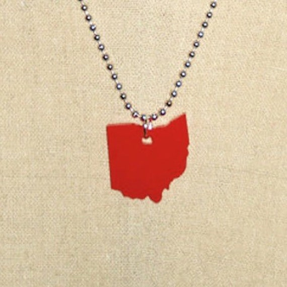 Ohio Necklace, Lasercut Necklace, State Charm, Red Acrylic Plastic, Small Size