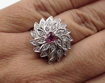 Vintage Diamond Ring, Flower Diamond Ring, Pink Sapphire Vintage Ring, Mother's Day Ring, Birthday Gift, Statement Ring, Appraisal Included