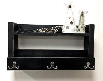 Rustic shelf, black entryway shelf, reclaimed wood, key holder, mail organizer, shelf with hooks, kitchen storage,  bathroom storage