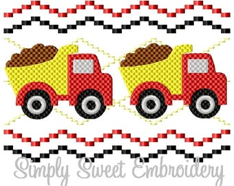 Boys Dump Truck Faux Smocking Machine Embroidery Design