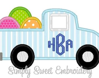 Easter Egg Truck Machine Embroidery Applique Design
