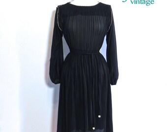 Vintage Black Semi Sheer Dress with Rhinestones , Black Cocktail Dress Rhinestone Belt and Trim ,dead stock