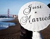 Just Married Parasol Wedding Ceremony Beach Destination Wedding Umbrella Custom Parasol White Photography Prop Aisle Decoration