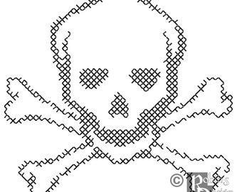 Skull and Crossbones for Shirt Patch Cross Stitch Pattern PDF