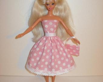 Handmade barbie clothes, CUTE polka dots dress and bag 4 barbie doll
