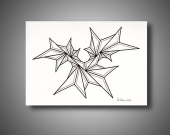 """5"""" x 7"""" - Original freehand drawing - marker on pastel paper - abstract art for small spaces - NOT a print - modern minimalist (B206)"""