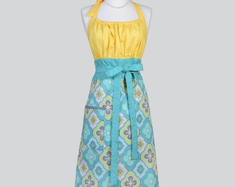Cute Kitsch Retro Apron / Turquoise Aqua and Charcoal Grey Yellow Bodice a Full Vintage Kitchen Cooking Womens Apron